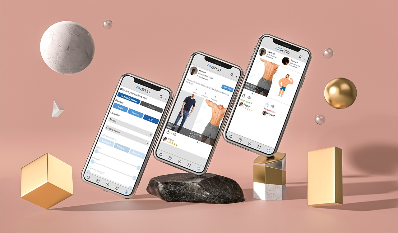 FitPimp prezentacja aplikacji na telefonach