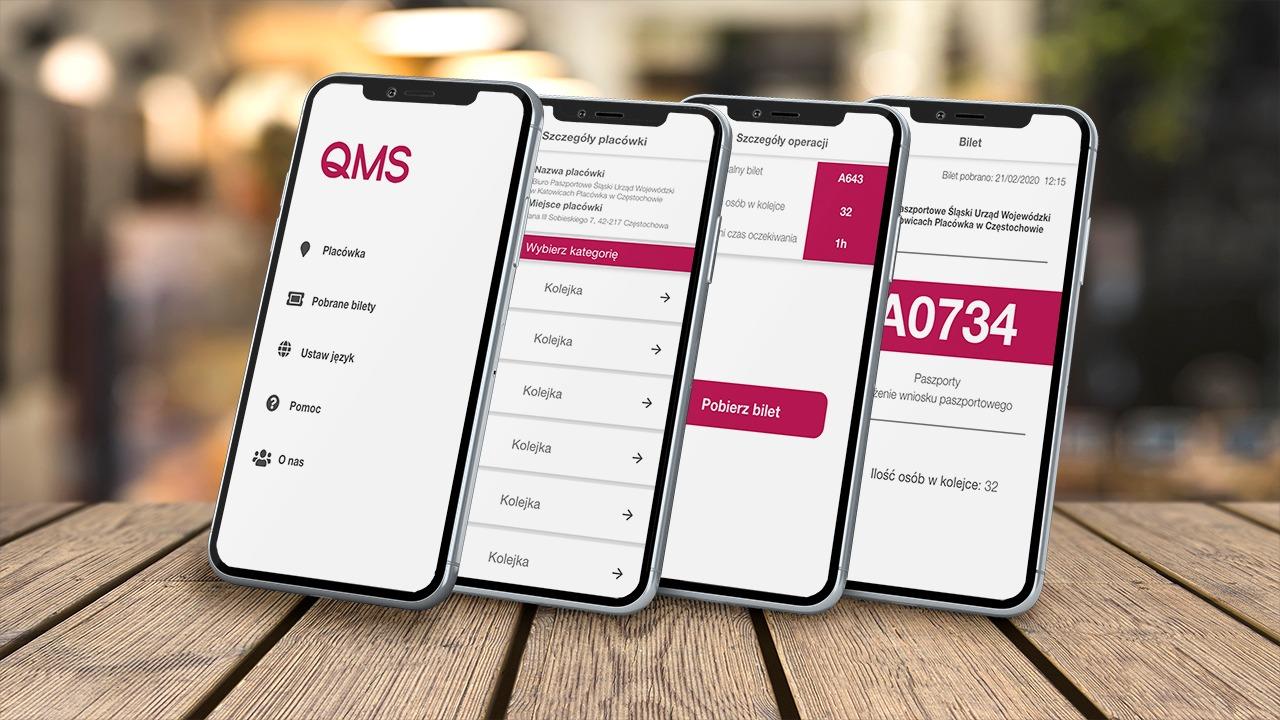 QMS prezentacja na kilku telefonac